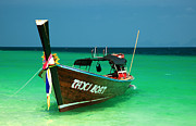 Blue Tail Prints - Taxi Boat Print by Adrian Evans