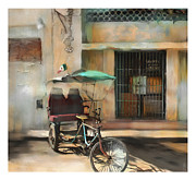 City Scape Digital Art Prints - taxi built for two Cuba Print by Bob Salo