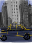 Midtown Digital Art Framed Prints - Taxi Framed Print by Russell Pierce