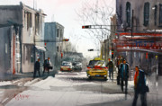 City Scene Paintings - Taxi by Ryan Radke