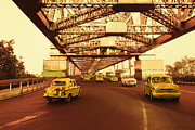 Kolkata Prints - Taxis On A Bridge, Howrah Bridge, Kolkata, West Bengal, India Print by Photosindia