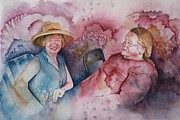 Character Portraits Paintings - Taylor and Chuck at the Picnic by Patsy Sharpe