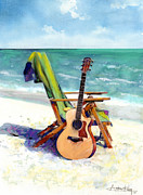 Guitar Framed Prints - Taylor at the Beach Framed Print by Andrew King