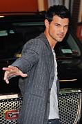 Paparazziec Photo Prints - Taylor Lautner, Leaves The Live With Print by Everett
