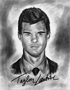 Kenal Louis Drawings Prints - Taylor Lautner sharp Print by Kenal Louis