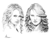 Taylor Swift Drawings - Taylor Swift and Taylor Swift by Murphy Elliott
