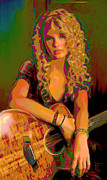 Blue Shirt Posters - Taylor Swift Poster by Byron Fli Walker