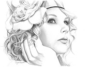 Taylor Swift Drawings - Taylor Swift by Crystal Rosene