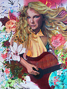 Shirt Mixed Media Posters - Taylor Swift Poster by Lauren Penha