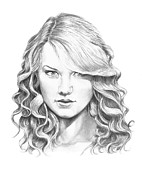 Famous People Drawings - Taylor Swift by Murphy Elliott