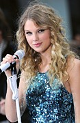Curly Hair Framed Prints - Taylor Swift On Stage For Nbc Today Framed Print by Everett
