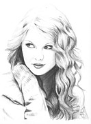 Taylor Swift Drawings - Taylor Swift by Rosalinda Markle