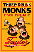 Drunk Drawings Prints - Taylor Three Drunk Monks Print by John OBrien