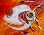 Devil Painting Posters - T.B. Chupacabra Fish Poster by J Vincent Scarpace