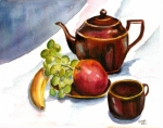 Teapot Paintings - Tea and Fruit by Clara Sue Beym