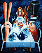 Mad Hatter Painting Posters - Tea By Night Poster by Leanne Wilkes