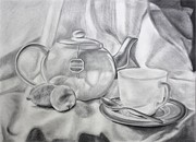 Tea Pot Drawings Prints - Tea for One Print by Maciej Mike Maciesowicz