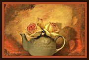 Teapot Digital Art Framed Prints - Tea for Three Framed Print by Marsha Heiken