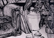 Tea Pot Drawings Prints - Tea for Two Print by Brian Sereda