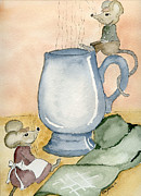 Mice Drawings Posters - Tea for Two Poster by Eva Ason