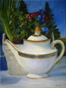 White Flowered Paintings - Tea for Two by Lisa Konkol