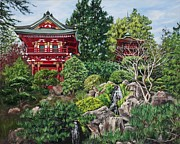 Bay Area Paintings - Tea Garden by Lisa Reinhardt
