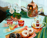 Donuts Painting Prints - Tea Print by Gina Blickenstaff