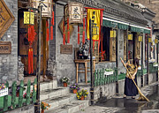 Chinese Woman Framed Prints - Tea House Framed Print by Scott Norris