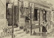Chinese Woman Prints - Tea House Vintage Print by Scott Norris