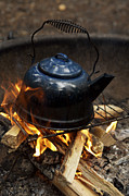 Fire Pit Art - Tea Kettle Heating Over An Open Fire by Tim Laman