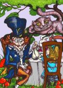 Mad Hatter Drawings Prints - Tea Party Print by Rae Chichilnitsky