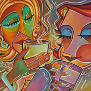 Coffee Drinking Painting Posters - Tea Party Poster by Redlime Art