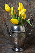 Silver Pitcher Posters - Tea Pot and Tulips Poster by Garry Gay