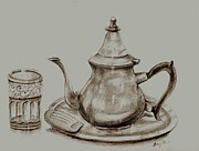 Moroccan Drawings Posters - Tea Pot Poster by Karim Baziou