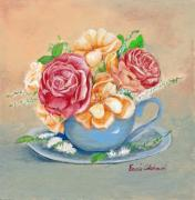 Red Prints - Tea Roses Print by Enzie Shahmiri