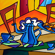 Figures Painting Posters - Tea Time - Abstract Pop Art by Fidostudio Poster by Tom Fedro - Fidostudio