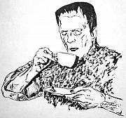 Frankenstein Drawings - Tea Time by Bryan Bustard
