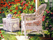 Wicker Furniture Posters - Tea Time Poster by David Lloyd Glover