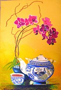 Oriental Teapot Paintings - Tea time by Elena Malec