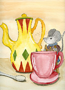 Mice Drawings Posters - Tea Time Poster by Eva Ason