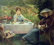 Summer Flowers Paintings - Tea Time by Jacques Jourdan