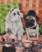 Big Eye Dog Prints - Tea Time Print by Jai Johnson