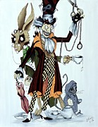Mad Hatter Painting Posters - Tea Time Poster by Leeann Stumpf