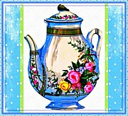 Teapot Posters - Tea Time Poster by Mary Morawska