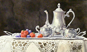 Silver Tea Pot Paintings - Tea Time  original by Sandy Brindle