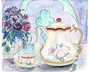 Teapot Paintings - Tea Time by Peggy Mars