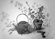 Potted Drawings Metal Prints - Tea Time Metal Print by Shelley Bain
