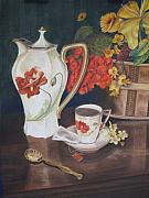 Red Poppies Pastels - Tea Time With Great Grandmother by Cindy Hall