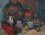 Drapery Originals - Tea with bread-rings by Juliya Zhukova