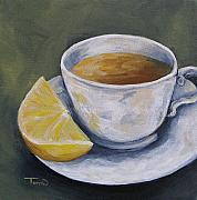 Lemon Painting Posters - Tea with Lemon Poster by Torrie Smiley
